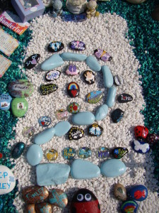 Painted pebbles from around the worlds.