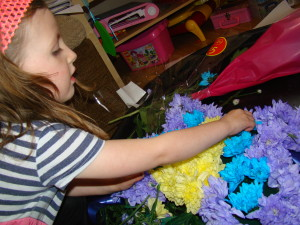 Creating a butterfly flower.