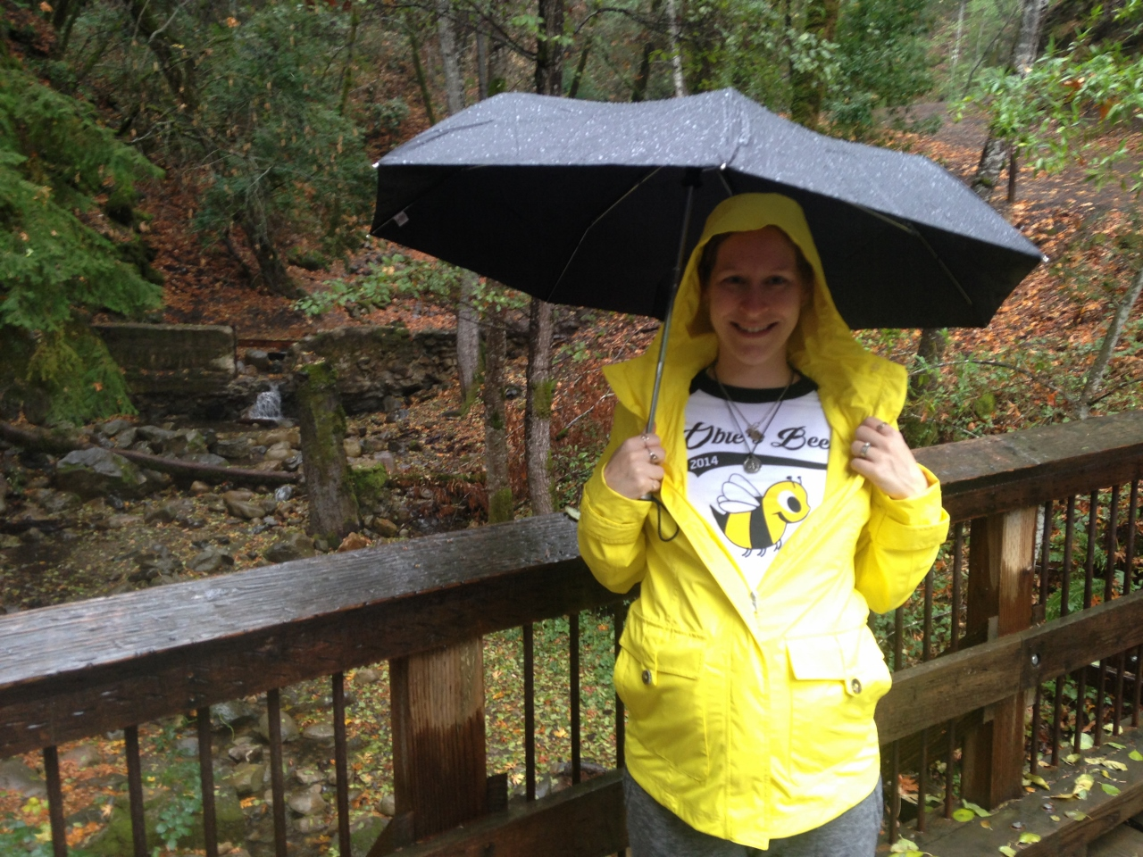 Sporting my Obie's Bees shirt and my yellow raincoat on Obie's Bee Day, Nov 24.
