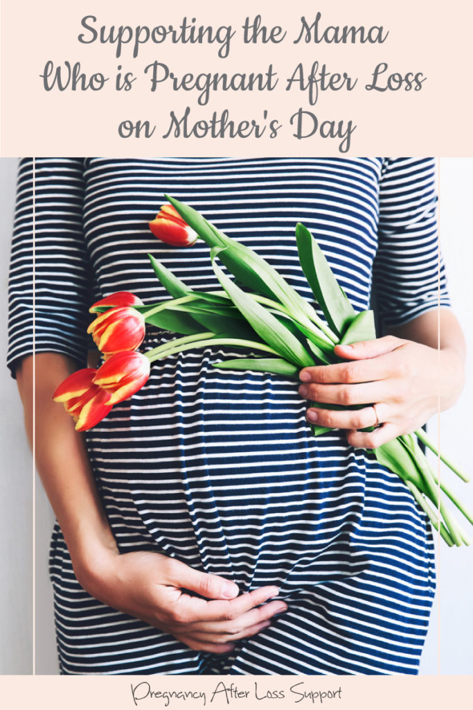 pregnant belly with flowers - Supporting the Mama Who is Pregnant After Loss on Mother's Day