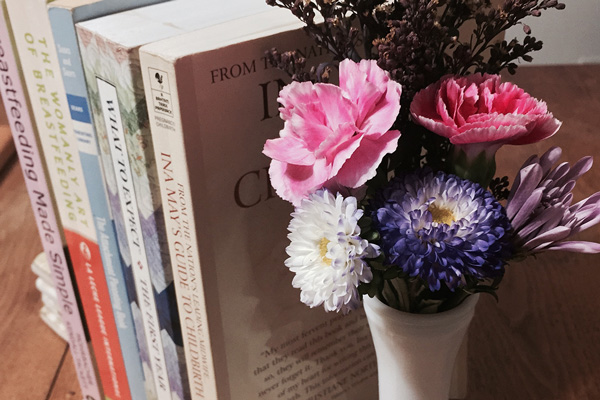 pregnancy and birth books with flowers - Rebecca's Bump Day Blog, Week 33: Birth Plan