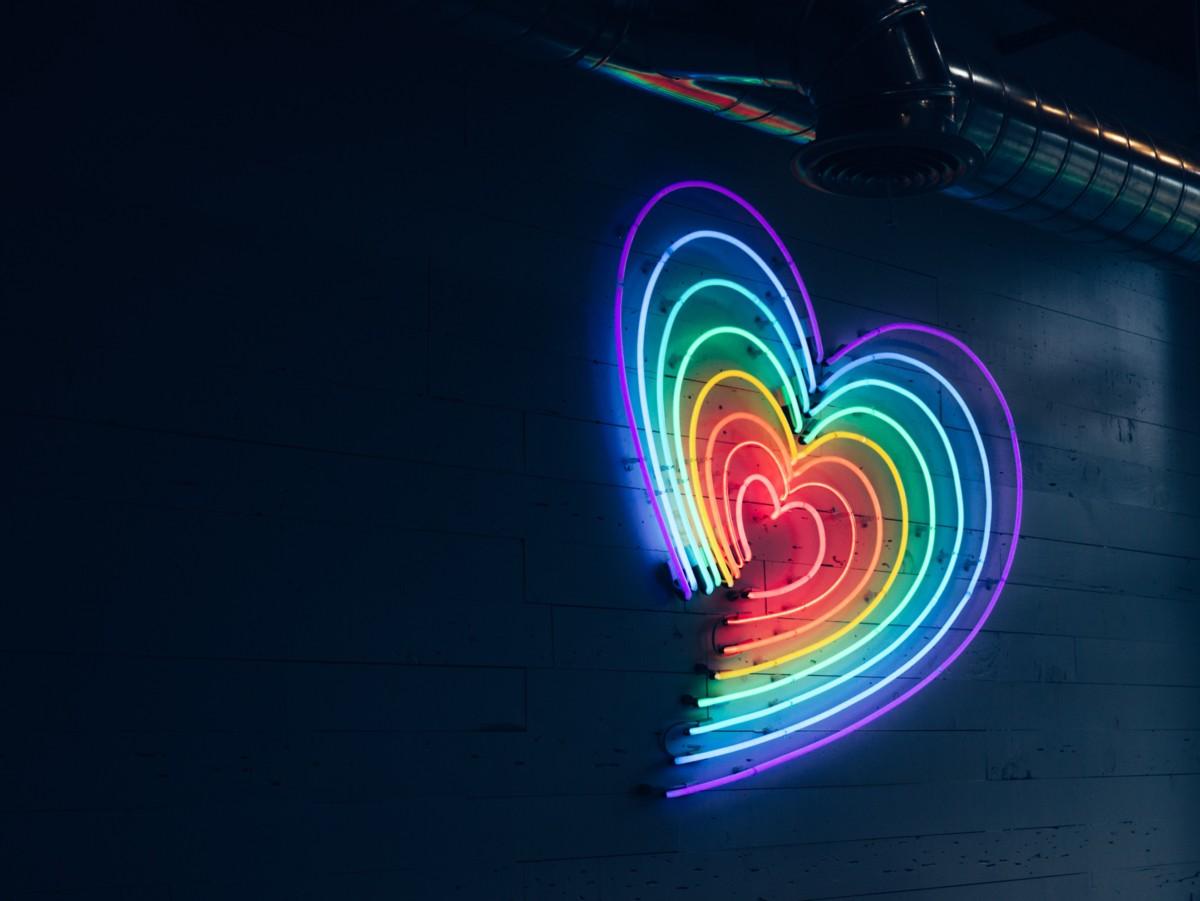 Purple Hearts Rainbow Heart