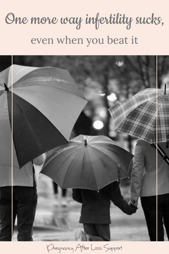 Family walking in rain with umbrellas - One more way infertility sucks, even when you beat it