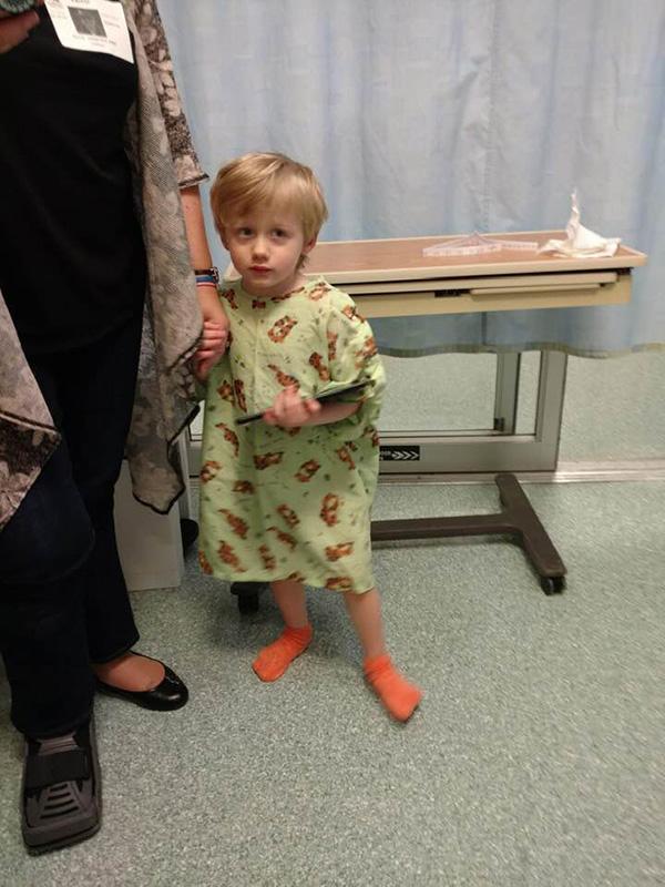 boy in hospital gown - Loss Mama Fear