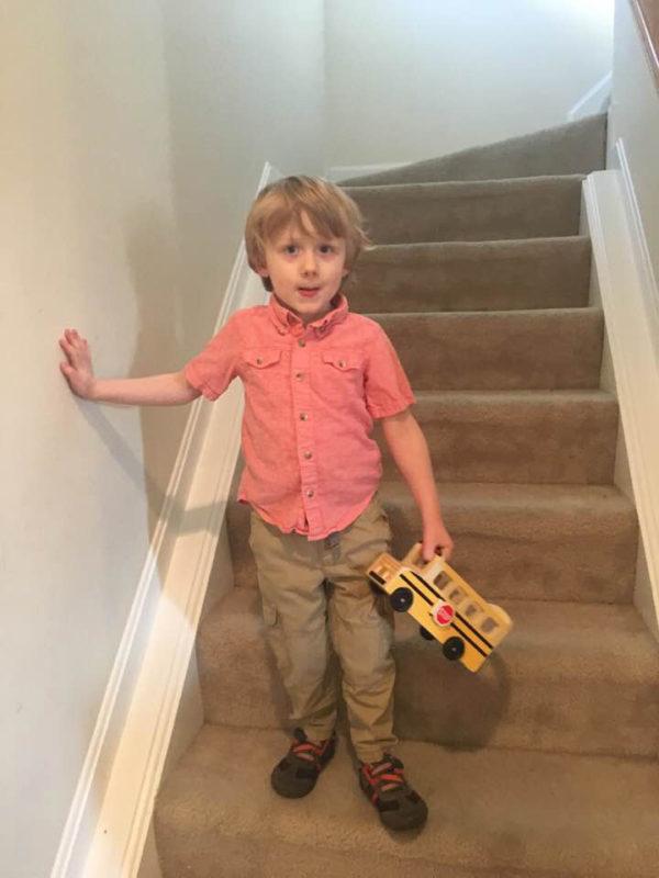 Noah on steps - finding balance