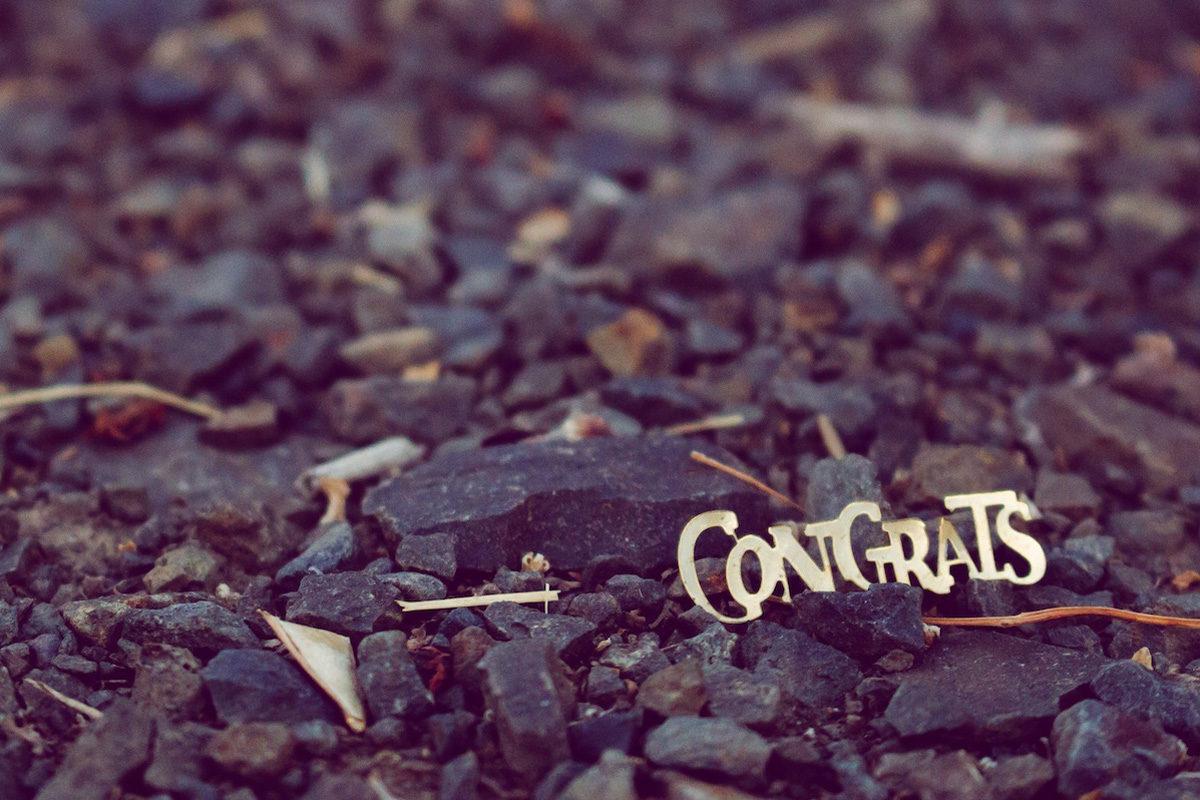 """Congrats"" on rocks"