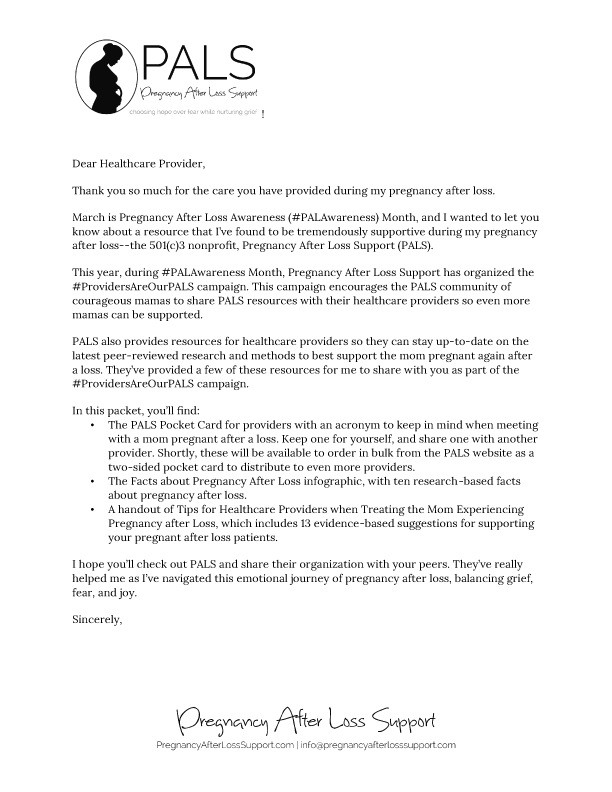 Providers are our PALS Cover letter