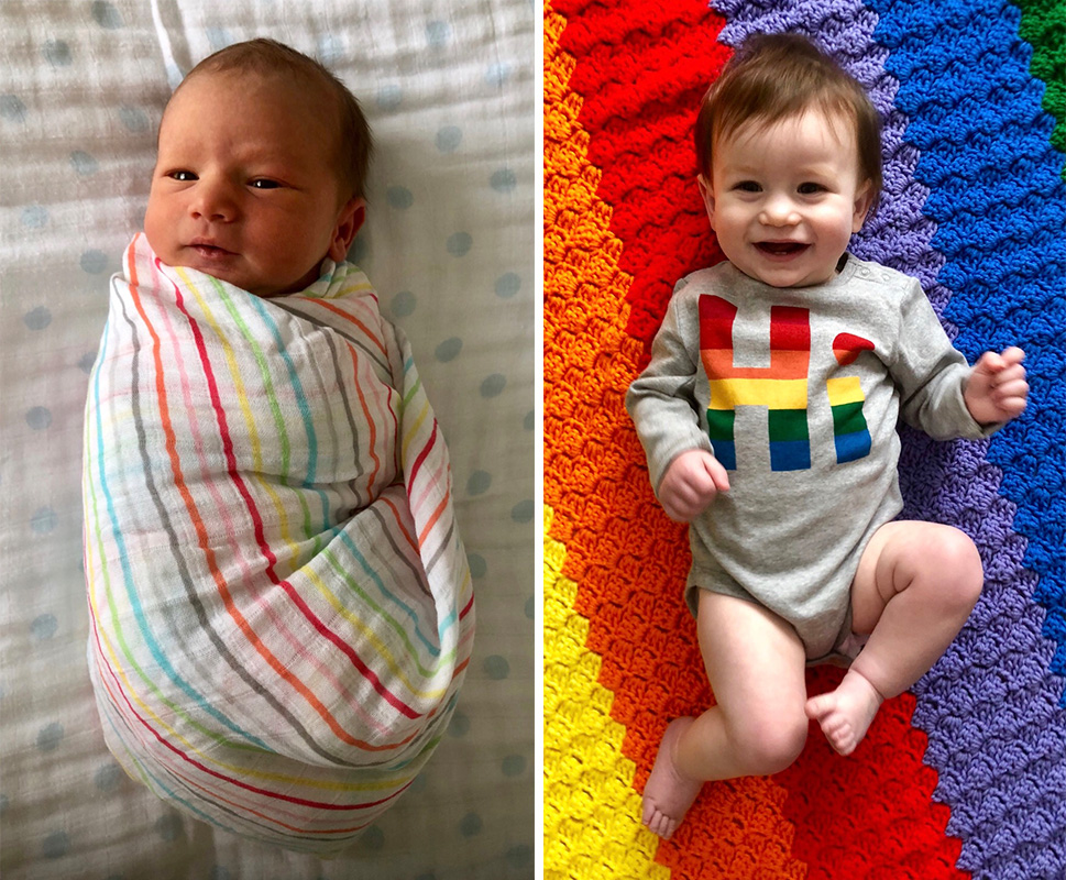 Newborn baby and baby at one - When my rainbow baby turns one
