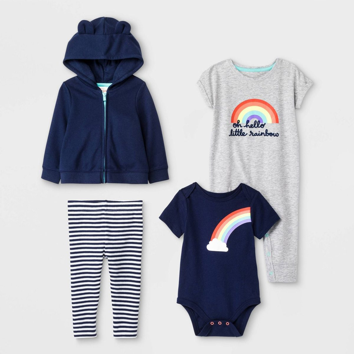 oh hello little rainbow baby set