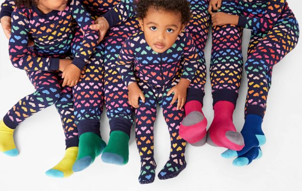 Primary.com navy sunburst heart rainbow matching family pajamas