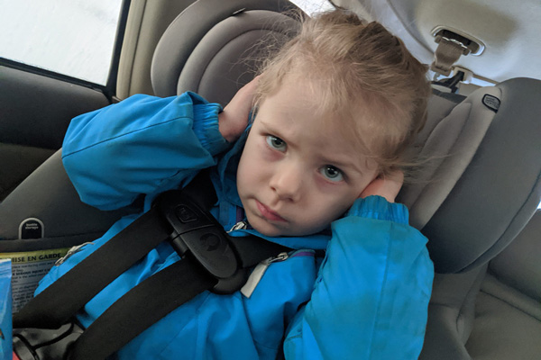 Rainbow in her carseat - Rachel's 38-week bump day blog: False Alarms and Pandemics