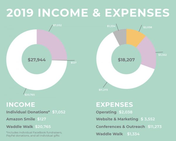 Pregnancy After Loss Support Financials - 2019 Income and Expenses Charts