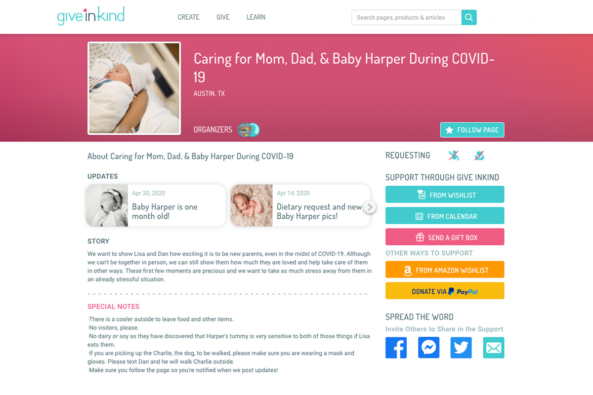 Give InKind Sample page - Baby Shower Alternatives for Mamas Pregnant After Loss During a Pandemic