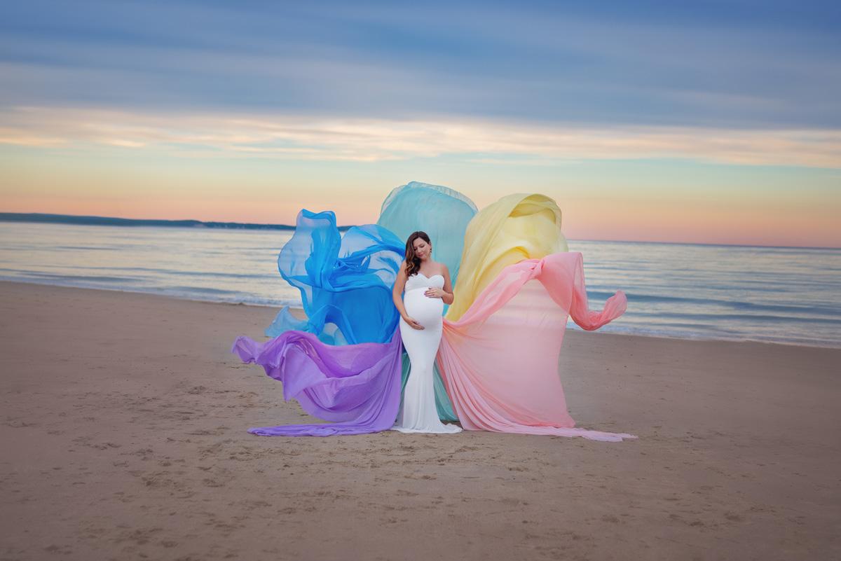 Maternity photo with rainbow train - The Sisterhood of the Traveling Rainbow Train