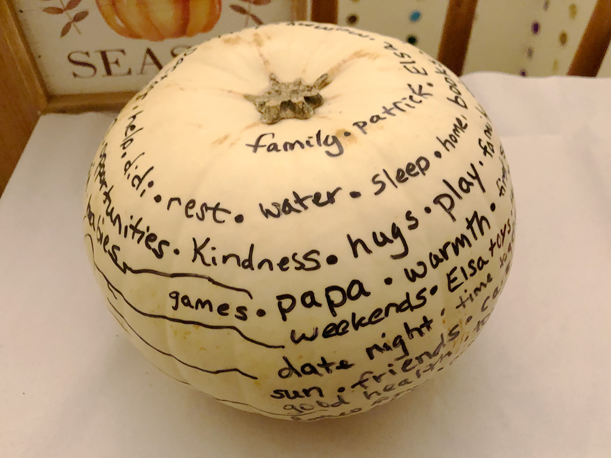 The White Pumpkin - gratitude pumpkin