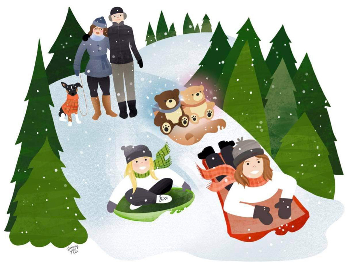 Holiday cards after loss - including your babies in an illustration of your family