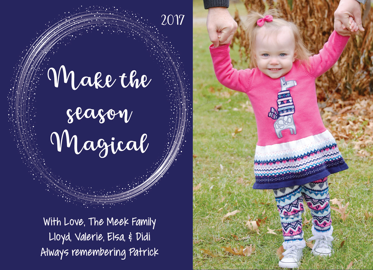 Holiday cards after loss - including your baby who died with a symbol