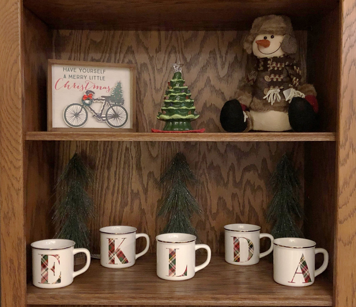 Shelf with Christmas decorations - Remembering Our Babies during the Holidays