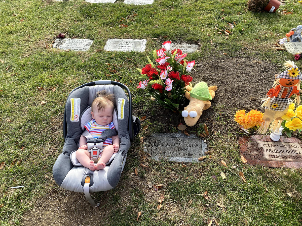 Elliott at Colette's grave