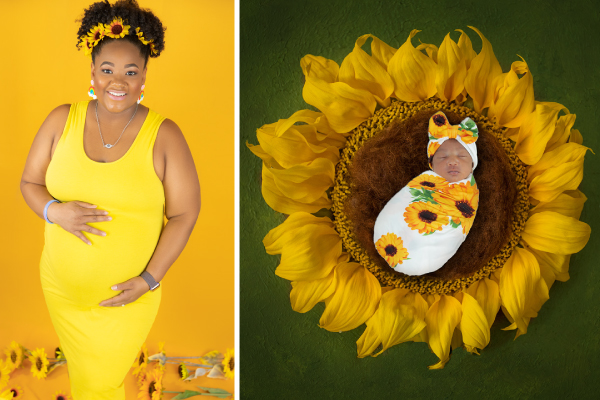 Pregnant woman with sunflowers - Clinging to Faith and Love during Pregnancy After Loss: Ingrid's Story
