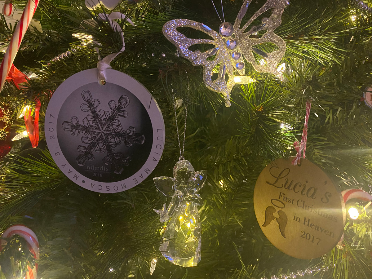 Lucia's Christmas ornaments - Finding Community while Pregnant and Parenting after Loss in a Pandemic: Maria's Story