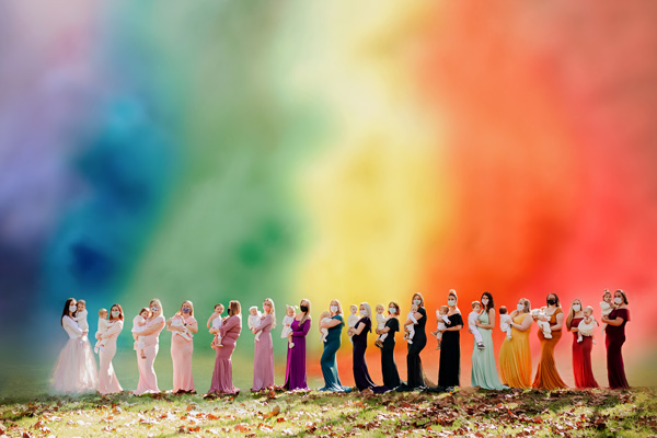Rainbow mama photo shoot - Pregnant mama in rainbow dress holding son - Finding Community while Pregnant and Parenting after Loss in a Pandemic: Maria's Story