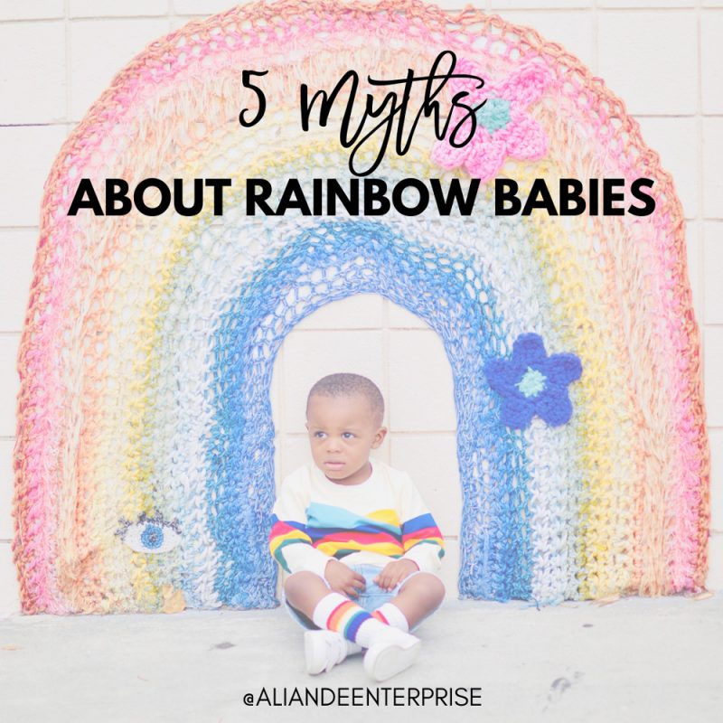 rainbow baby with rainbow art - 5 myths about rainbow babies