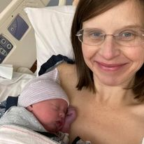 Kathy Gardner with newborn George - Fear, Anxiety, Panic, Repeat: Pregnancy After Loss Journey to Hell