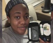 Jasmine with glucose monitor - Bump Day Blog, Week 16: the importance of supportive care