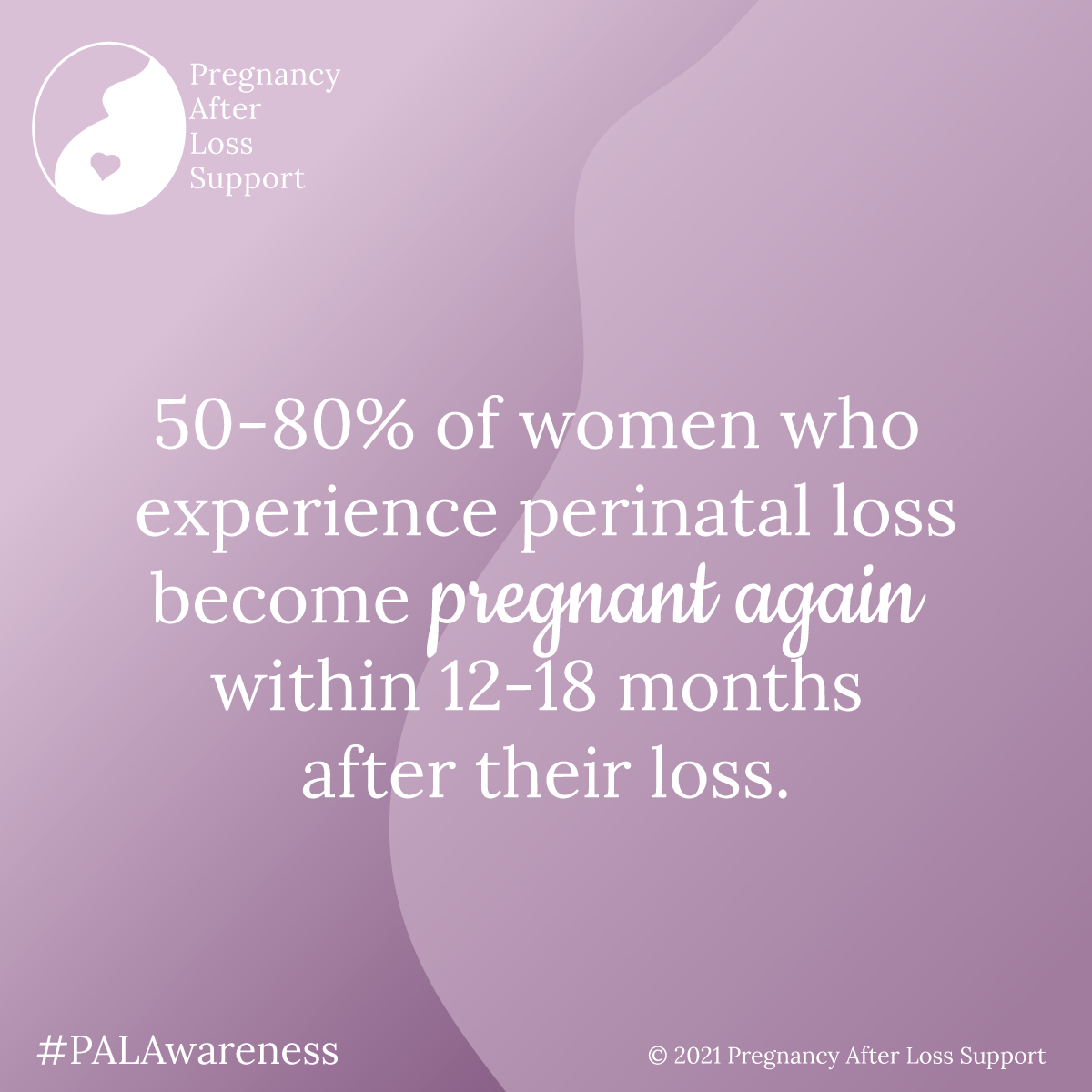 50-80% of women who experience perinatal loss become pregnant again within 12-18 months after their loss