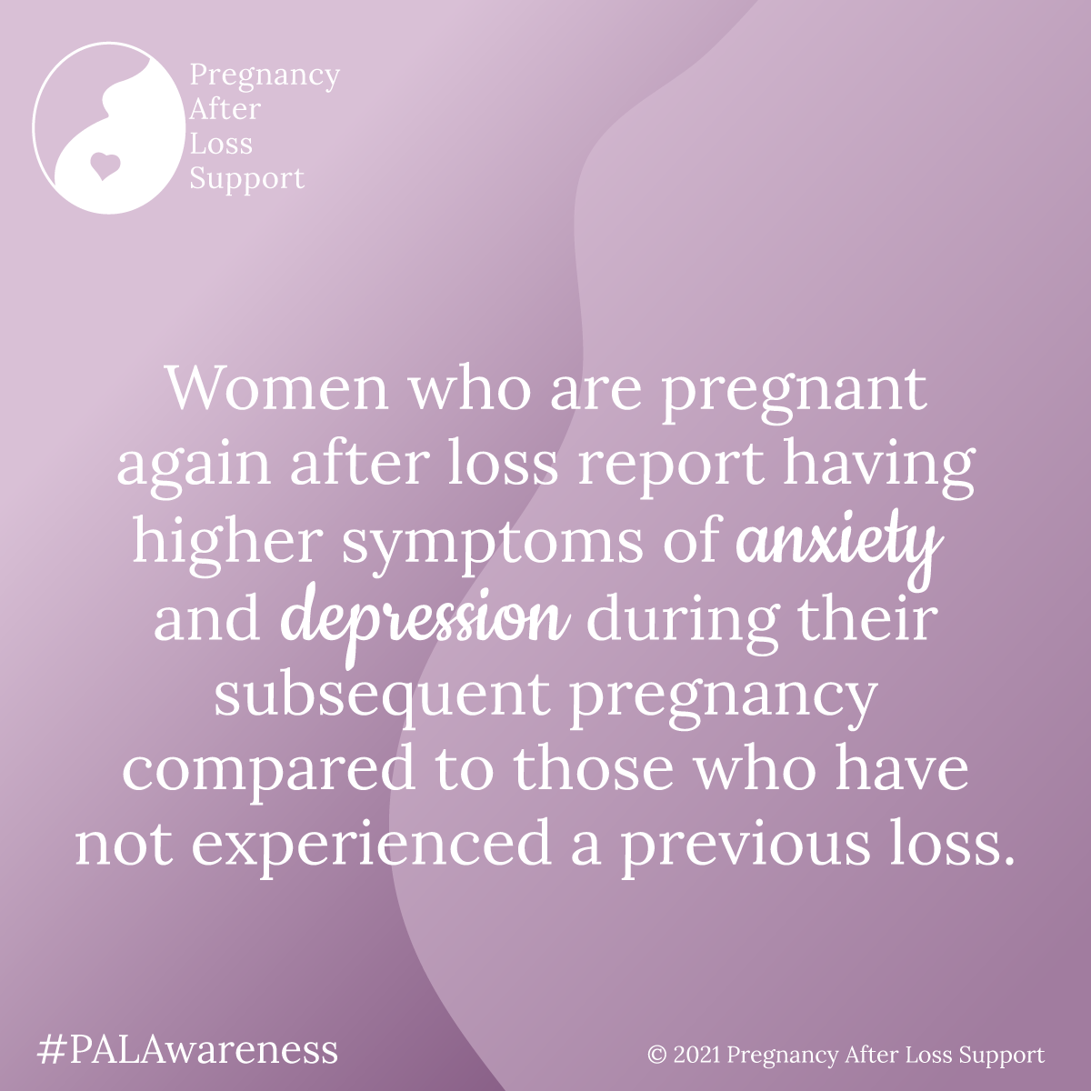 Women who are pregnant again after loss report having higher symptoms of anxiety and depression during their subsequent pregnancy