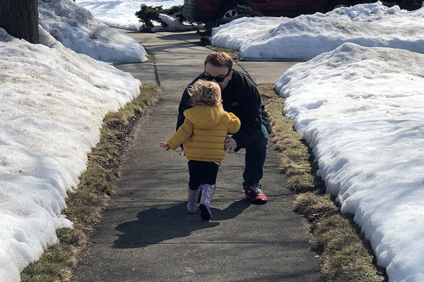 child running to dad outside - Doing What Works For You When You Are Parenting After Loss