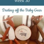 """stuffed animals with """"angels gather here"""" embroidery - Libby's Bump Day Blog, Week 30: Dusting off the Baby Gear"""