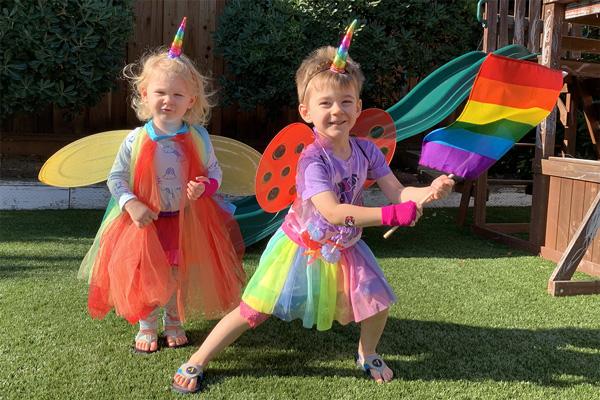 Rainbow babies dressed for Pride celebration