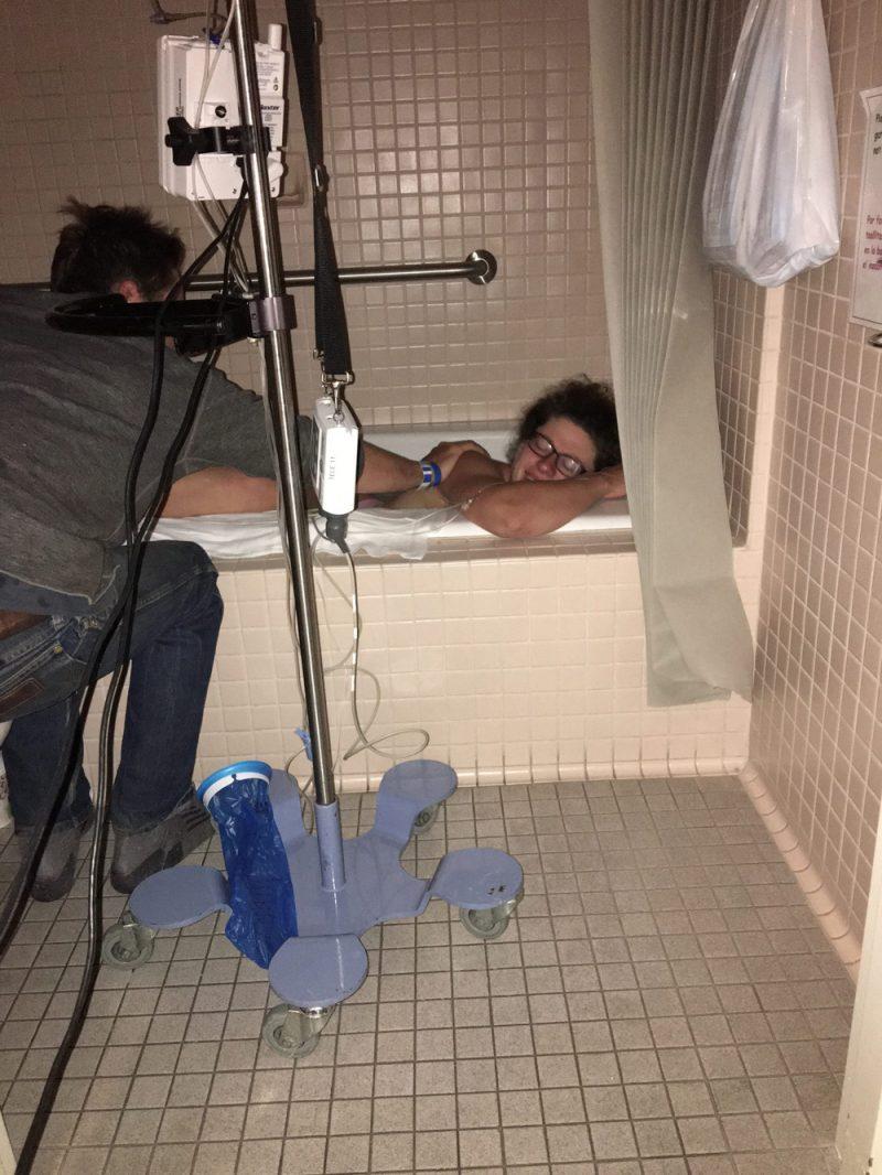 Eamon John birth story - Libby laboring in tub