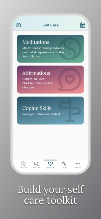 Pregnancy After Loss App - Build your self care toolkit