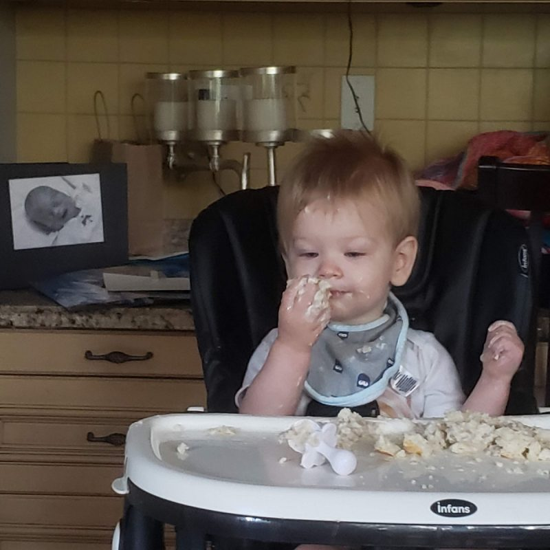 Elliot eating - Parenting After Loss: Sibling Photos