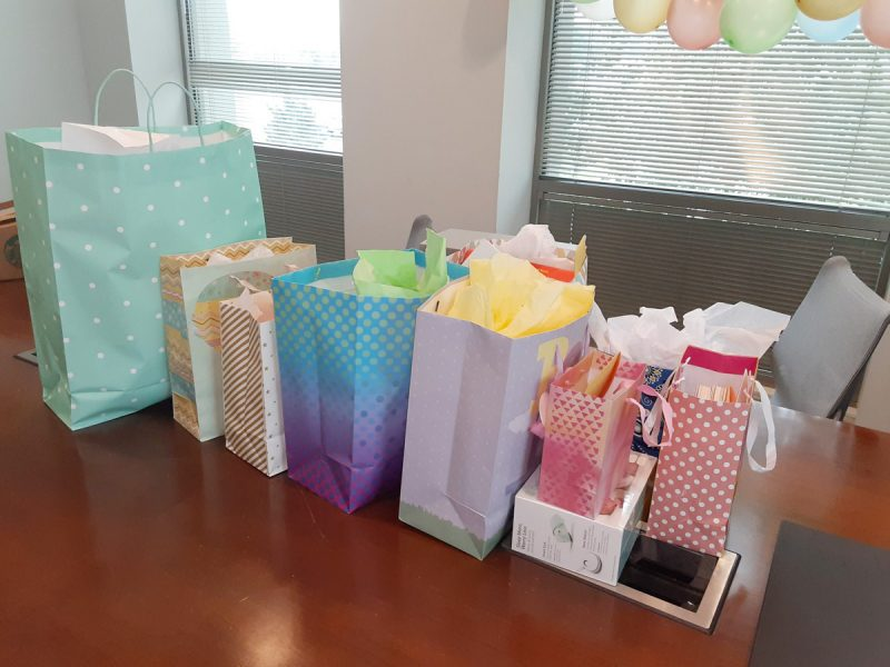 Gifts at Emma's baby shower